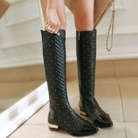 BRAND Quality Winter Boots Women Genuine Leather Shoes Plus Villus Warm Snow Boots Knee-High Flat Heels Shoes Women Boots