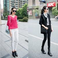 2014 new fashion elastic waist zipper tight comfortable Leisure women Work Wear S-L black white