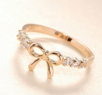 Min.orders $10 New Arrival hot sell Fashion High quality Simple bow rhinestone crystal Ring Jewelry for women  MD1107