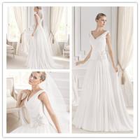 Luxurious A-line Floor length Court train V-neck Sleeveless Tank Style Beading Side Waist Ruched Chiffon Bridal Wedding Dress