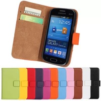 Flip Wallet Style Genuine Leather Case Cover for Samsung Galaxy Trend Slite S7390 Free DHL Shipping 20pcs/lot