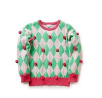 high quality brand design children girl rhombus balls soft sweater pullovers knitwear