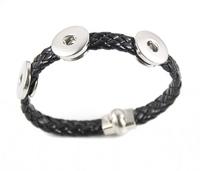 10pcs/lot mix colors new high quality unisex black PU leather 18mm snap bracelet with magnetic shackle clsap wholesale