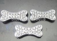 100pcs 10mm full rhinestone bone slide charms wear charms fit 10mm bracelet brand new can through 10mm band