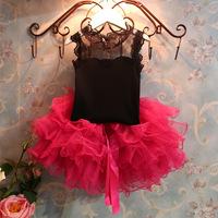 5set/lot wholesale lace short sleeve kids t-shirt skirt 2pcs set summer gril's clothes ,casual child clothes