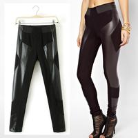 New Vintage Women Trendy Winter Leather Patchwork Slim Thin Elastic Waist Pencil Tights Skinny Pants Trousers Legging