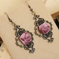Classic Handmade Lolita Violet Flower Rose Bowknot Bronze Metal Vintage Channel Dnagle Earrings Hook Fashion Jewelry Wholesale