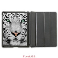 Free Shipping White Tiger Protective Smart Cover Leather Case For iPad 2 3 4/iPad 5 Air/iPad Mini  P80