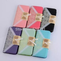 50pcs wholesale 2014 new arrived Luxury Lace HAND CASE Leather Wallet Case for Apple iPhone 6 case IPHONE6 4.7 inch for iPhone 6