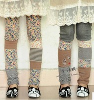 Japanese Mori girl kawaii mori lolita style winter patchwork cotton slim floral print leggings desigual trousers winter leggings