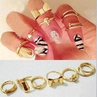 7Pcs/Set New Fashion Rings Set Gold Plated Skull Bowknot Heart Design Simple Nail Band Mid Finger Rings Set Hot Selling