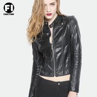 Fancyinn  2014 High Quality  Fashion Slim Lady New Autumn Turn-down Collar PU Leather Jacket Zipper Pocket Women Top