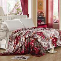 new hot free shipping luxury  soft warm fleece Sofa  throw blankets king/queen size pattern blankets sizeRural garden style