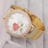 2014 New Fashion Gold Rose Flower Watches Women Dress Watch Stylish Women Casual Watch Quartz Watches orologio da polso ML0600