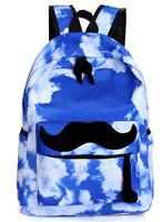 New Cool Fancy Sky Blue Funny Mustache Laptop Book Travel Hiking Backpack Fashion Men Women Girl Boy School Double Shoulder Bag