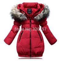 QA12  Girls Down Coat Children's Down Jacket Duck Down medium-long female child winter thickening slim duck down