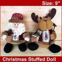 "2pcs  Christmas Plush Toy 9""  Claus and Deer Fun Stuffed  Xmas Decoration Gifts FREESHIPPING"