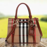 Canvas Bags Plaid Casuel Bag Women Handbag Tote Shoulder bag Cowhide Leather Handbag