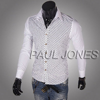 Wholesale Price PJ Men's Stylish & Slim Fit Long Sleeve Dots Splicing Shirt Tops BlackWhite Men's Dress Shirt FY6829