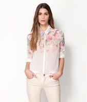 Hot Sell New 2014 Fashion Women Chiffon Blouses Women Flower Print Lapel Casual Chiffon Long Sleeved Shirts Women Tops c3007
