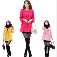 Women's Spring Autumn High-grade Wool Worsted Coats\ Female Fashion Casual Sweet Windbreaker Jackets\ Yellow,Pink,Rose Red\ A556