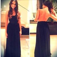Free Shipping 2014 Vestidos De Fiesta A Line Chiffon Lace Backless Sleeveless Evening Dresses Women Dresses Party Dress MDf0021