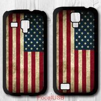 5 pcs US America Flag Protective Plastic Cover Case For Samsung Galaxy S4 mini, S3 mini P567(White: S4, Black: S3)