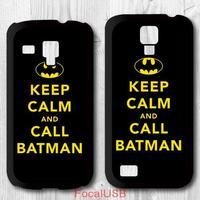 5 pcs Keep Clam And Call Batman Protective Plastic Cover Case For Samsung Galaxy S4 mini S3 mini P673(White: S4, Black: S3)