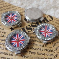 New British UK Flag Quartz Watch Face Shamballa Watch Face Fit Shamballa DIY Jewelry Watches Making