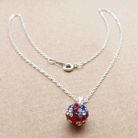 Free shipping New Full Crystal Rhinestone Disco Ball UK Shamballa necklace Wholesales, 100pcs/lot