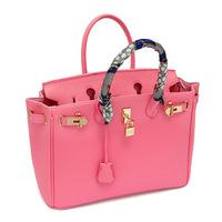 H brand France High quality leather handbag with gold lock scarf 30cm 35cm woman bags fashion 2014 designers bolsas femininas