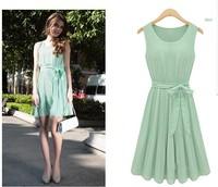 Free Shipping Novelty Ladies Elegant Trendy Pure Color Pleated Sleeveless O-neck Dress Light Green Vest Party Dress SRX18