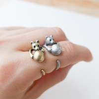 New Fashion Brass Knuckle Adjustable Vintage Bronze Silver Rolling Ball Boho Cat Ring Wrap Midi Couple Rings Men Free Shipping