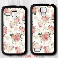 5 pcs Pink Floral Protective Plastic Cover Case For Samsung Galaxy S4 mini S3 mini P736(White: S4, Black: S3)