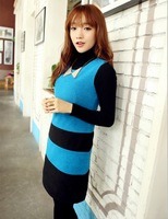 lace women dress sleeveless spring and autumn new Korean Slim woolen vest dress was thin stitching A word skirt dress bottoming