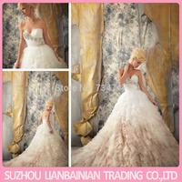 Exquisite A Line Sweetheart Crystal Bedaed Organza Ruffle Imported Wedding Dress Vestido De Renda Longo