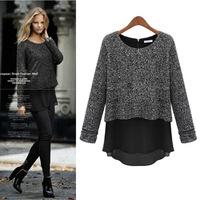 plus size women dress dark gary 2014 autumnn and winter new fahsion long slim sleeve woolen knit women dress M-5XL