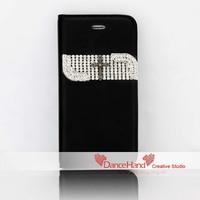 Free Shipping Bling Bling Pearl Rhinestone Devil Crossing Skull Flip Wallet Case For iPhone 6 6 Plus 5 5S 5C
