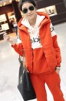 New Fashion Sportswear Women's Sport Suits Cotton Tracksuits Women Fleece Hoodies Sweatshirts Orange Outerwear 3 piece set SV22
