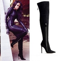 Jennifer Hudson Wearing Black Suede Thigh High Boots Pointed Toe Double-Zip Over-the-Knee Boots Drop Shipping