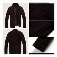 New Fashion Men's Clothing 100% Suede Sheep Leather Lapel Collar Coat Outerwear FY6727
