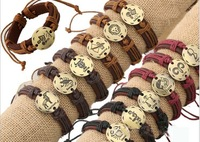 Hot Sale Genuine Leather Mens Bracelets 2014 12pcs/lot Mixed 12 Constellations Fashion Jewelry. Pulseiras Masculinos