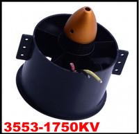 Black 90mm 6-Blade 6blades Ducted Fan & 3553-1750KV Brushless Motor Freeshipping