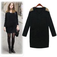 plus size women dress 2 color 2014 winter newest fasahion cashmere wool long sleeve women dress winter black and gary L-5XL
