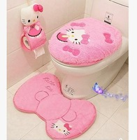 Free shipping new arrival Hello Kitty pink cute cartoon plush soft toilet seat cover 4 piece set bathroom toilet mat carpet