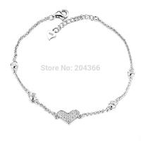 """GNS0382 Elegant Jewelry 1pc 7""""+1"""" Rolo Chain Bracelet Fashion 925 Sterling Silver Jewelry Heart Bracelet for Women Free Shipping"""