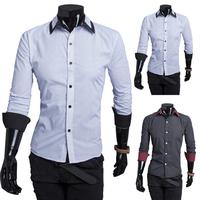 Spring 2014 fashion new long sleeve shirts men, nice little dot, outerwear casual shirts men, drop-shaped free shipping 9115
