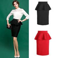Women Pencil Skirt New Fashion 2014 Autumn Winter Casual High Waist Ruffles Knee-length Midi Skirt Women Work Wear Skirt 973020