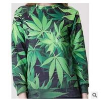 Warm 2014 Autumn Casual Pullover Hoodies Loose fashion Coat Long Sleeve Green Leaves Printed Sweatshirt Loose Women Hoody W00434