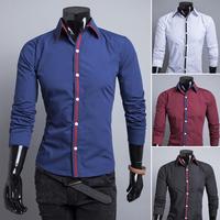 Cotton 4 Colors men shirt 2014 spring and autumn casual men's long sleeve shirts slim fit social Size M-XXL  9120